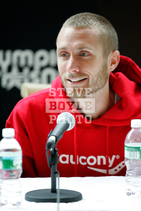 Jason Lehmkuhle answers questions at a press conference following the 2008 Men's Olympic Trials Marathon on November 3, 2007 in New York, New York.  The race began at 50th Street and Fifth Avenue and finished in Central Park.  Ryan Hall won the race with a time of 2:09:02.