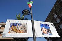 Colleferro.Manifesti che ricordano il lancio dell' ARIANE 5.Alcune parti vengono prodotte nello stabilimento AVIO.