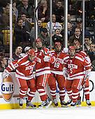 Garrett Noonan (BU - 13), Alex Chiasson (BU - 9), Wade Megan (BU - 18), Adam Clendening (BU - 5), Matt Nieto (BU - 17) - The Boston College Eagles defeated the Boston University Terriers 3-2 (OT) to win the 2012 Beanpot championship on Monday, February 13, 2012, at TD Garden in Boston, Massachusetts.