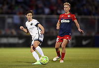 Boyds, MD - Saturday May 07, 2016: Portland Thorns FC defender Meghan Klingenberg (25) passes the ball away from Washington Spirit midfielder Joanna Lohman (15) during a regular season National Women's Soccer League (NWSL) match at Maureen Hendricks Field, Maryland SoccerPlex. Washington Spirit tied the Portland Thorns 0-0.