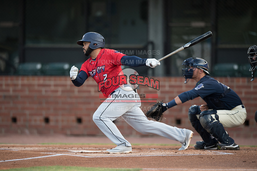 Jacksonville Jumbo Shrimp Justin Twine (2) at bat in front of catcher Jack Kruger (10) during a Southern League game against the Mobile BayBears on May 8, 2019 at Hank Aaron Stadium in Mobile, Alabama.  Jacksonville defeated Mobile 7-1.  (Mike Janes/Four Seam Images)