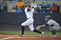 Clinton LumberKings Braden Bishop (1) swings during the Midwest League game against the Beloit Snappers at Ashford University Field on June 11, 2016 in Clinton, Iowa.  The LumberKings won 7-6.  (Dennis Hubbard/Four Seam Images)
