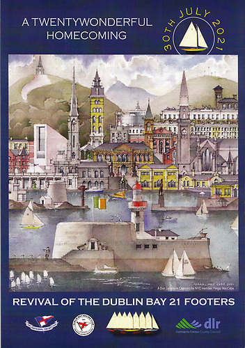 DB 21 saviour and architect Fionan de Barra is at the heart of a highly artistic group in the National YC – NYC member Fergal MacCabe created this carpaccio of Dun Laoghaire for the cover of the highly-informative brochure abut the restoration of he class