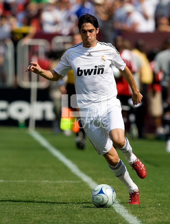 Real Madrid midfielder (8) Kaka brings the ball upfield during their friendly at FedEx Field in Landover, Maryland.  Real Madrid defeated DC United, 3-0.