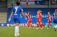 2nd May 2021; Kingsmeadow, London, England; Goal celebrations from FC Bayern Munchen during the UEFA Womens Champions League, Chelsea FC versus FC Bayern Munich