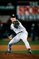 David Cone of the New York Yankees pitches against the San Diego Padres during the 1998 World Series at Qualcomm Stadium in San Diego, California. (Larry Goren/Four Seam Images)