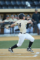 Chris Lanzilli (24) of the Wake Forest Demon Deacons follows through on his swing against the Liberty Flames at David F. Couch Ballpark on April 25, 2018 in  Winston-Salem, North Carolina.  The Demon Deacons defeated the Flames 8-7.  (Brian Westerholt/Four Seam Images)
