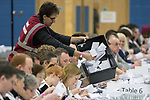 © Joel Goodman - 07973 332324 . 23/02/2017 . Stoke-on-Trent , UK . Ballot boxes are tipped out on to tables for counting at to the count in the by-election for the constituency of Stoke-on-Trent Central , at Fenton Manor Sports Complex . Photo credit : Joel Goodman