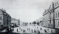 Berlin: Platz AM Zeughaus  (arsenal), Unter Den Linden, view from east, 1780.  SCHINKEL'S BERLIN. Reference only.