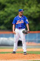 Kingsport Mets starting pitcher Darwin Ramos (38) looks to his catcher for the sign against the Greeneville Astros at Hunter Wright Stadium on July 7, 2015 in Kingsport, Tennessee.  The Mets defeated the Astros 6-4. (Brian Westerholt/Four Seam Images)