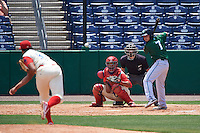 Daytona Tortugas shortstop Blake Trahan (7) awaits a pitch from Miguel Nunez (37) in front of catcher Gabriel Lino (7) and umpire  Jordan Johnson during a game against the Clearwater Threshers on April 20, 2016 at Bright House Field in Clearwater, Florida.  Clearwater defeated Daytona 4-2.  (Mike Janes/Four Seam Images)
