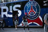 LISBON, PORTUGAL - AUGUST 15: French profesional soccer player Kylian Mbappé arriving to Myriad hotel in Lisbon, on August 15, 2020.<br /> Paris Saint-Germain won against Atalanta (2-1), this Wednesday in Lisbon, to qualify for the semifinals of the Champions League, for the first time since 1995. They will play againist the RB Leipzig on Tuesday.<br /> (Photo by Luis Boza/VIEWpress via Getty Images)