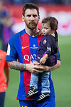 Leo Messi  and his son, Thiago Messi during the match of  Copa del Rey (King's Cup) Final between Deportivo Alaves and FC Barcelona at Vicente Calderon Stadium in Madrid, May 27, 2017. Spain.. (ALTERPHOTOS/Rodrigo Jimenez)