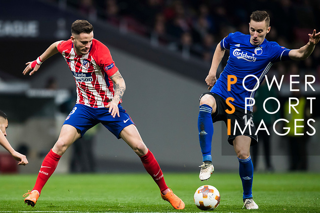 Saul Niguez Esclapez (L) of Atletico de Madrid battles for the ball with Jan Gregus of FC Copenhague during the UEFA Europa League 2017-18 Round of 32 (2nd leg) match between Atletico de Madrid and FC Copenhague at Wanda Metropolitano  on February 22 2018 in Madrid, Spain. Photo by Diego Souto / Power Sport Images