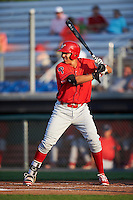 Williamsport Crosscutters first baseman Darick Hall (46) at bat during a game against the Auburn Doubledays on June 25, 2016 at Falcon Park in Auburn, New York.  Auburn defeated Williamsport 5-4.  (Mike Janes/Four Seam Images)