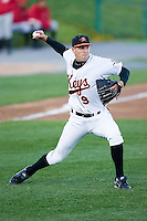 Starting pitcher Brad Bergeson (9) of the Frederick Keys makes a throw to first base versus the Salem Avalanche at Harry Grove Stadium in Frederick, MD, Tuesday, April 15, 2008.