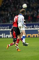 Martin Fenin (Eintracht) im Kopfballduell mit Bernd Korzynietz (Bielefeld)<br /> Eintracht Frankfurt vs. Arminia Bielefeld, Commerzbank Arena<br /> *** Local Caption *** Foto ist honorarpflichtig! zzgl. gesetzl. MwSt. Auf Anfrage in hoeherer Qualitaet/Aufloesung. Belegexemplar an: Marc Schueler, Am Ziegelfalltor 4, 64625 Bensheim, Tel. +49 (0) 6251 86 96 134, www.gameday-mediaservices.de. Email: marc.schueler@gameday-mediaservices.de, Bankverbindung: Volksbank Bergstrasse, Kto.: 151297, BLZ: 50960101