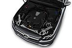 Car stock 2018 Mercedes Benz E Class Executive 2 Door Coupe engine high angle detail view