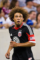 Nick DeLeon (18) of DC United. The New York Red Bulls defeated DC United 3-2 during a Major League Soccer (MLS) match at Red Bull Arena in Harrison, NJ, on June 24, 2012.