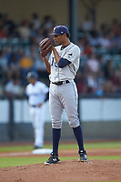 Princeton Rays starting pitcher Luis Moncada (22) looks to his catcher for the sign against the Pulaski Yankees at Calfee Park on July 14, 2018 in Pulaski, Virginia. The Rays defeated the Yankees 13-1.  (Brian Westerholt/Four Seam Images)