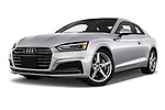 Stock pictures of low aggressive front three quarter view of 2018 Audi A5  Premium 2 Door Coupe