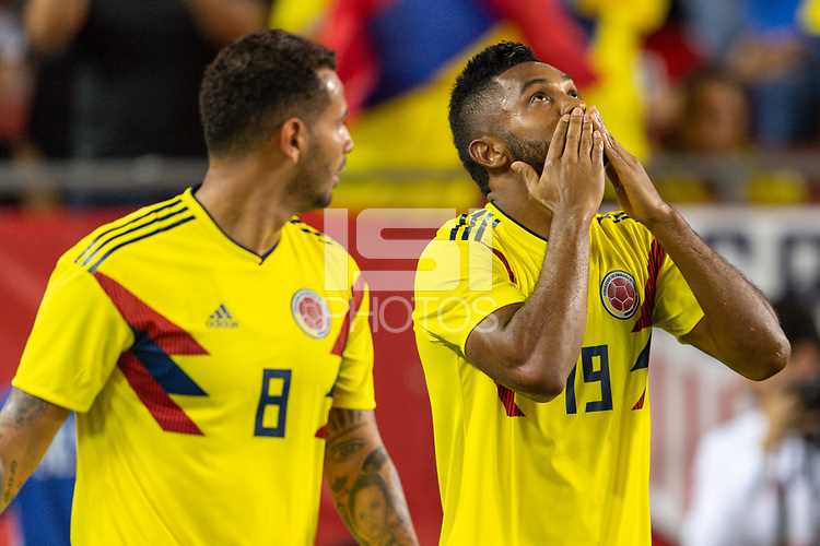 Tampa, FL - Thursday, October 11, 2018: Edwin Cardona, Miguel Borja, Goal celebration during a USMNT match against Colombia.  Colombia defeated the USMNT 4-2.
