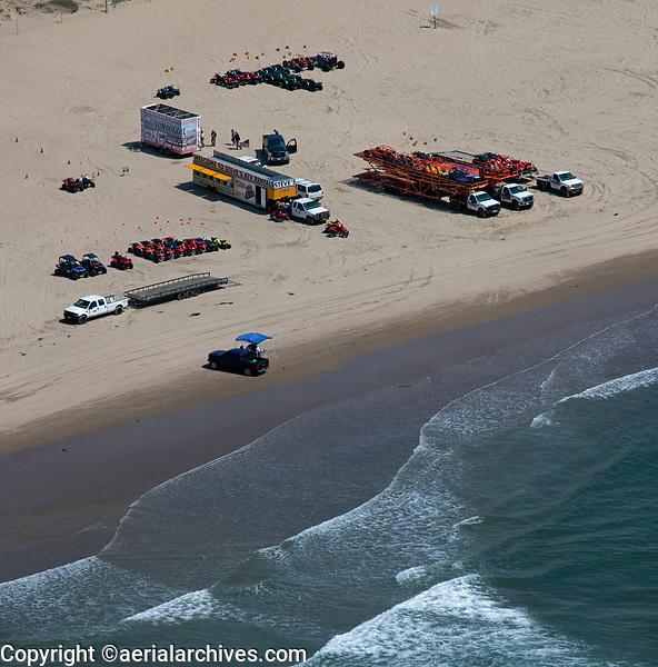 aerial photograph of ATV rentals at Oceano dunes, Pismo Beach, San Luis Obispo County, California