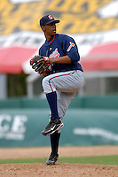 Pitcher Juan Abreu of the Gwinnett Braves during a game versus the Pawtucket Red Sox on May 12, 2011 at McCoy Stadium in Pawtucket, Rhode Island. Photo by Ken Babbitt /Four Seam Images