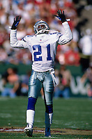 SAN FRANCISCO, CA - Deion Sanders of the Dallas Cowboys in action during a game against the San Francisco 49ers at Candlestick Park in San Francisco, California in 1997. Photo by Brad Mangin
