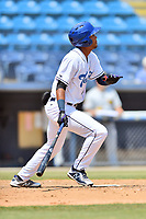 Asheville Tourists designated hitter Daniel Montano (24) swings at a pitch during a game against the West Virginia Power at McCormick Field on June 2, 2019 in Asheville, North Carolina. The  Power defeated the Tourists 5-4. (Tony Farlow/Four Seam Images)