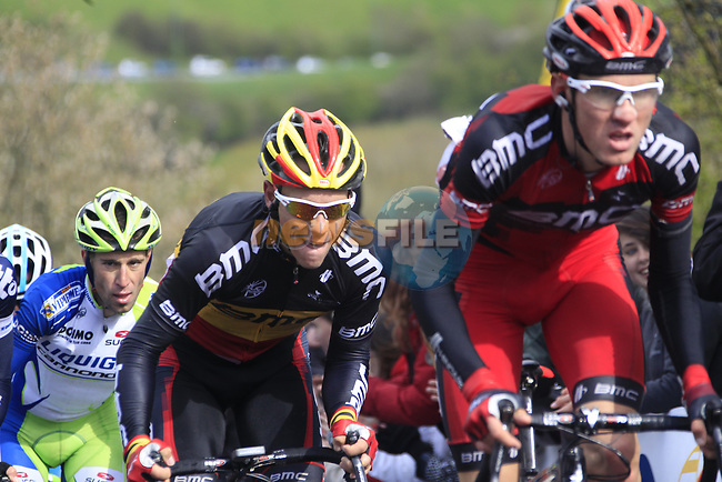 Belgian National Champion Philippe Gilbert (BEL) and Tejay Van Garderen (USA) BMC Racing Team and Vincenzo Nibali (ITA) Liquigas-Cannondale lead the peloton up the Cote de la Redoute during the 98th edition of Liege-Bastogne-Liege, running 257.5km from Liege to Ans, Belgium. 22nd April 2012.  <br /> (Photo by Eoin Clarke/NEWSFILE).