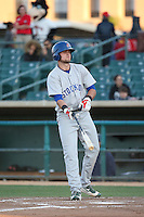 Seth Brown (9) of the Stockton Ports bats against the Lancaster JetHawks at The Hanger on May 26, 2016 in Lancaster, California. Stockton defeated Lancaster, 16-7. (Larry Goren/Four Seam Images)
