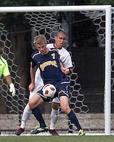 Quinnipiac University forward Nils von der Heide (7) receive a pass in front of the net as Boston College midfielder/defender Patrick Chin (9) defends.  Boston College defeated Quinnipiac, 5-0, at Newton Soccer Field, September 1, 2011.