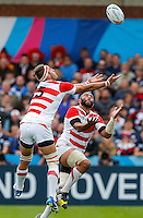 Japan Lock Justin Ives and Flanker Michael Leitch go for a high ball - Mandatory byline: Rogan Thomson - 23/09/2015 - RUGBY UNION - Kingsholm Stadium - Gloucester, England - Scotland v Japan - Rugby World Cup 2015 Pool B.