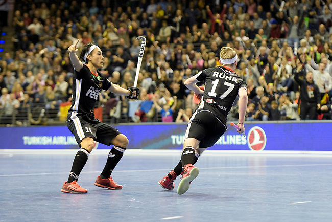 Berlin, Germany, February 10: During the FIH Indoor Hockey World Cup semi-final match between Germany (black) and Iran (white) on February 10, 2018 at Max-Schmeling-Halle in Berlin, Germany. Final score 6-2. (Photo by Dirk Markgraf / www.265-images.com) *** Local caption *** Christopher RUEHR #17 of Germany, Danny NGUYEN #10 of Germany
