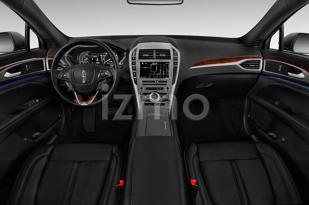 Stock photo of straight dashboard view of 2018 Lincoln MKZ Reserve 4 Door Sedan Dashboard