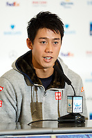 Kei Nishikori is interviewed during a media day at the Barclays ATP World Tour Finals at The O2 centre, North Greenwich, London.