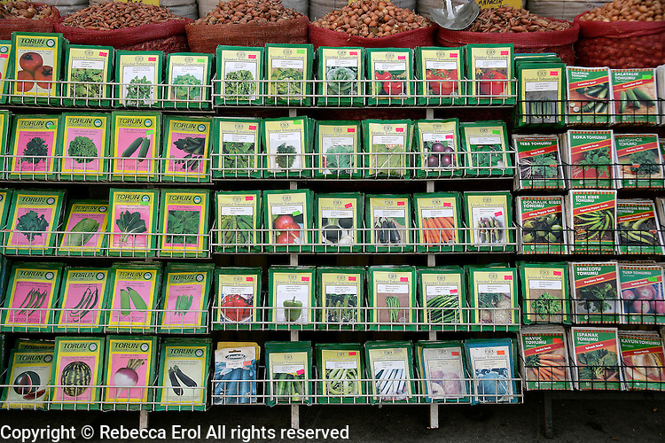 Vegetable seeds for sale at the horticultural market in Eminonu, Turkey