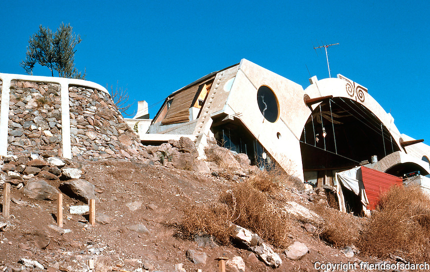 Paolo Soleri: ARCOSANTI. Cordes Junction, AZ. Foundry from the road below. Photo '76.