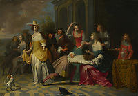 Full title: Ladies and Gentlemen playing La Main Chaude<br /> Artist: Follower of Hieronymus Janssens<br /> Date made: probably 1655-65<br /> Source: http://www.nationalgalleryimages.co.uk/<br /> Contact: picture.library@nationalgallery.co.uk<br /> <br /> Copyright © The National Gallery, London