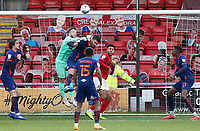 Blackpool's Chris Maxwell punches clergies under pressure<br /> <br /> Photographer Rich Linley/CameraSport<br /> <br /> The EFL Sky Bet League One - Crewe Alexandra v Blackpool - Saturday 17th October 2020 - Gresty Road - Crewe<br /> <br /> World Copyright © 2020 CameraSport. All rights reserved. 43 Linden Ave. Countesthorpe. Leicester. England. LE8 5PG - Tel: +44 (0) 116 277 4147 - admin@camerasport.com - www.camerasport.com