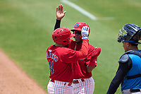 Clearwater Threshers Juan Aparicio (44) high fives Luis García (5) after hitting a home run during a game against the Tampa Tarpons on June 13, 2021 at BayCare Ballpark in Clearwater, Florida.  (Mike Janes/Four Seam Images)