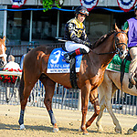 July 4, 2021: American Power, ridden by Joel Rosario, in the post parade prior to the 2021 running of the G2 John A. Nerud S. at Belmont Park in Elmont, NY. Sophie Shore/ESW/CSM