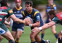 29th May 2021; Sixways Stadium, Worcester, Worcestershire, England; Premiership Rugby, Worcester Warriors versus Leicester Tigers; Kobus van Wyk and Hanro Liebenberg of Leicester Tigers tackle Francois Venter of Worcester Warriors