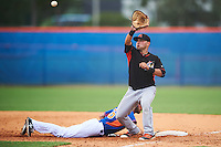 Miami Marlins first baseman Eric Gutierrez (20) stretches for a throw as Gene Cone (76) dives back to first during an Instructional League game against the New York Mets on September 29, 2016 at the Port St. Lucie Training Complex in Port St. Lucie, Florida.  (Mike Janes/Four Seam Images)