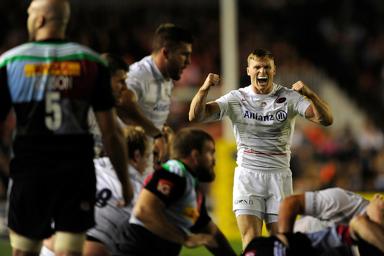 Chris Ashton of Saracens celebrates winning 0-39 during the Premiership Rugby Round 2 match between Harlequins and Saracens at The Twickenham Stoop on Friday 12th September 2014 (Photo by Rob Munro)