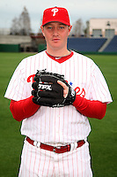 February 24, 2010:  Pitcher BJ Rosenberg (76) of the Philadelphia Phillies poses during photo day at Bright House Field in Clearwater, FL.  Photo By Mike Janes/Four Seam Images
