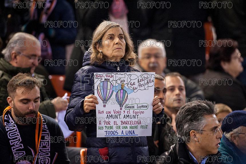 VALENCIA, SPAIN - DECEMBER 5: Valencia fan during BBVA LEAGUE match between Valencia C.F. and FC Barcelona at Mestalla Stadium on December 5, 2015 in Valencia, Spain