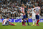 Real Madrid's Sergio Ramos and Atletico del Madrid´s Mandzukic, Joao Miranda and Diego Godin during quarterfinal second leg Champions League soccer match at Santiago Bernabeu stadium in Madrid, Spain. April 22, 2015. (ALTERPHOTOS/Victor Blanco)