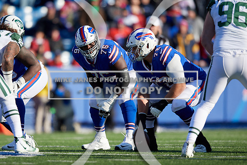 Buffalo Bills guard John Miller (76) and center Ryan Groy (72) during an NFL football game against the New York Jets, Sunday, December 9, 2018, in Orchard Park, N.Y.  (Mike Janes Photography)